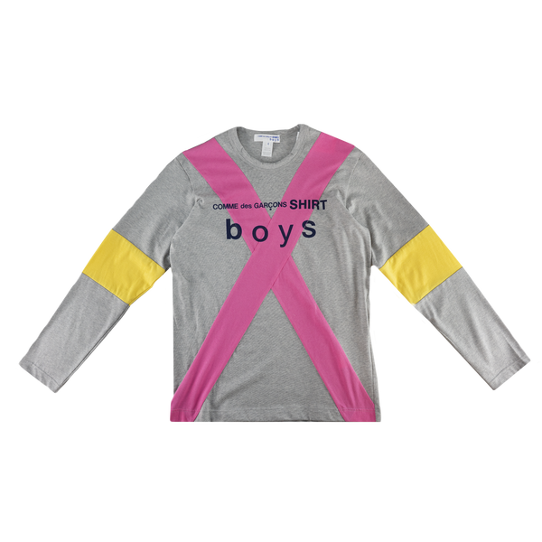 COMME des GARÇONS SHIRT Cotton L/S Shirt in Grey/Pink/Yellow  Style: S27932-1