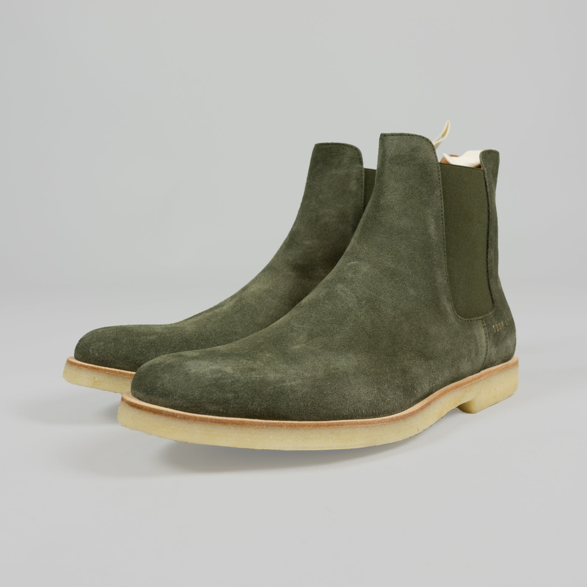 Common Projects Chelsea Boot in Olive Suede