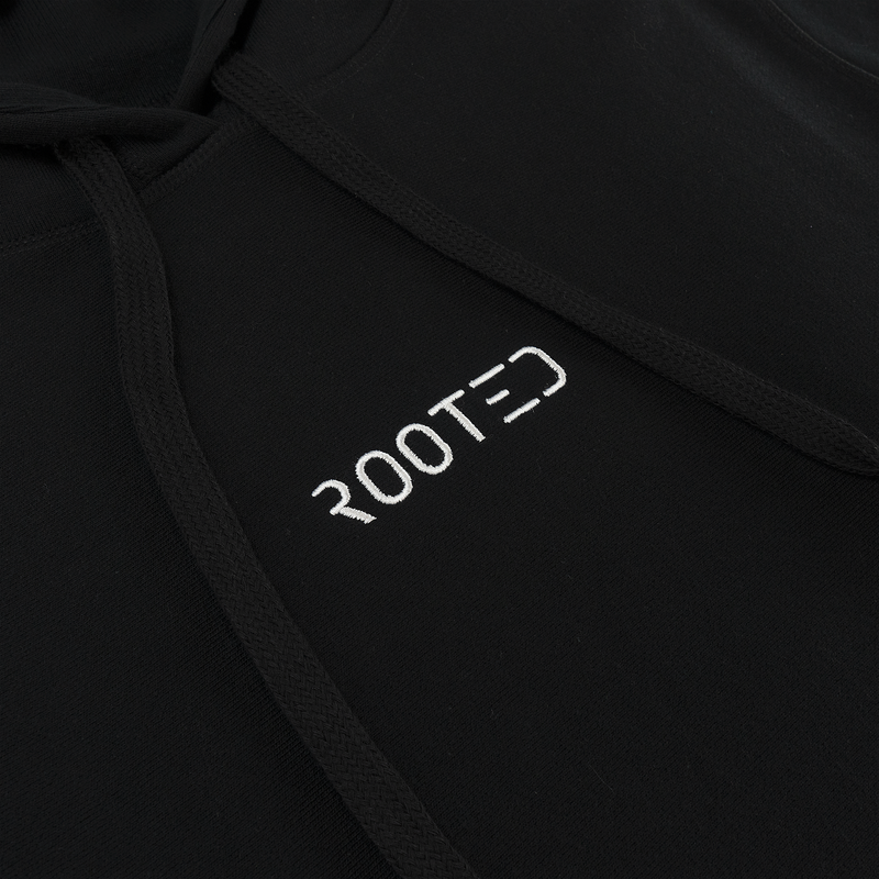 ROOTED Logo Hoodie in Black  Style: R-01  430 GSM French Terry / 100% Cotton  'ROOTED' logo embroidered on chest  Matte black rounded tips on hood strings