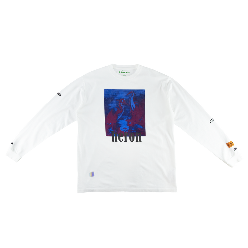 Heron Preston Herons L/S T-Shirt in White/Multi  Style: HMAB002S196000380188