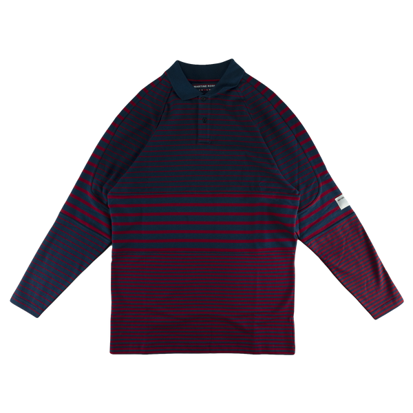 Martine Rose Panelled Polo Top [Red Stripe]