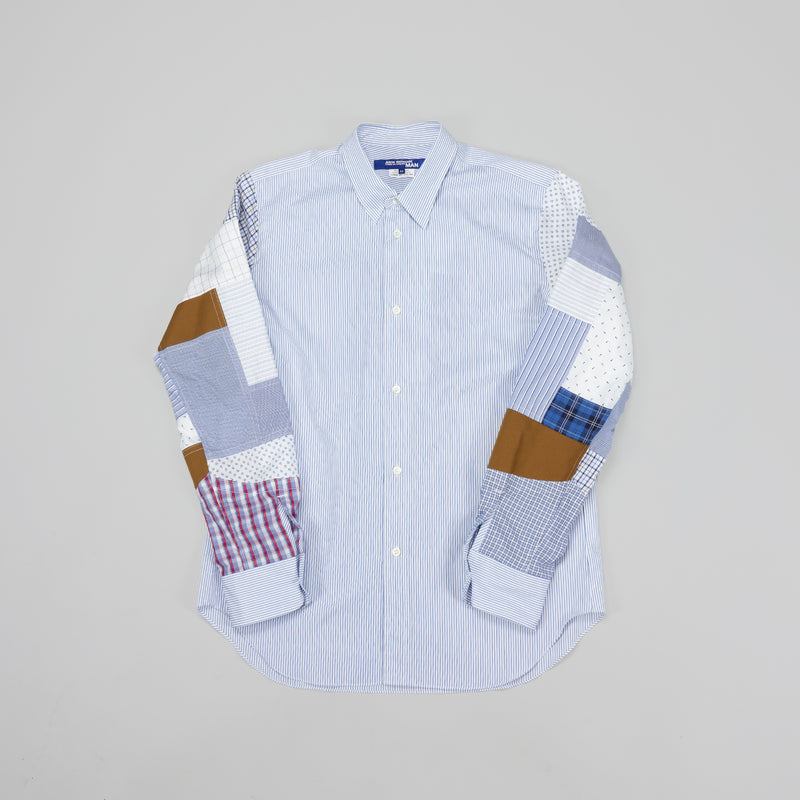 Junya Watanabe MAN Stripe x Multi-fabric Mix Shirt [White/Multi]