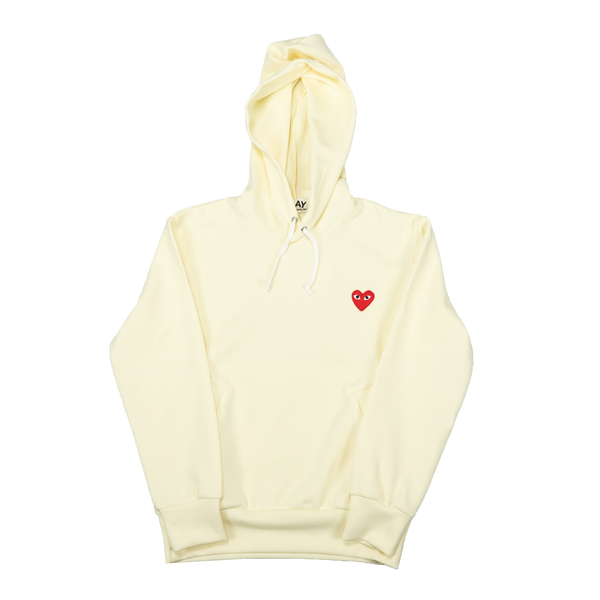 COMME des GARÇONS PLAY Hooded Sweatshirt [Ivory/Red]
