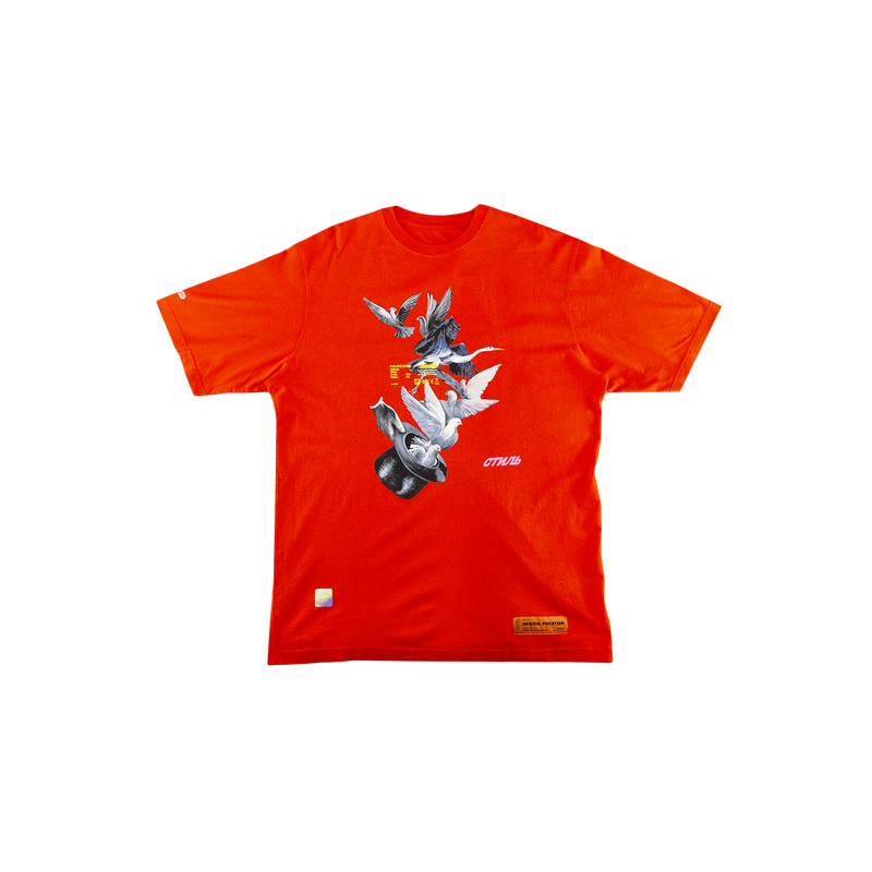 Heron Preston Doves S/S T-Shirt in Coral Red  Style: HMAA001S196320492188