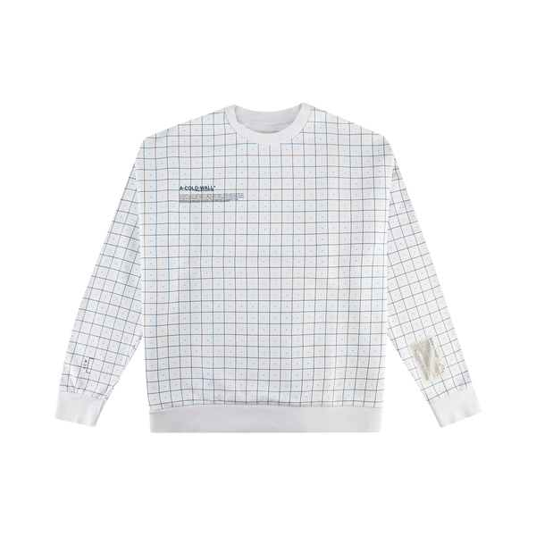 A-COLD-WALL* Grid Print Crewneck 'Pale Grey'