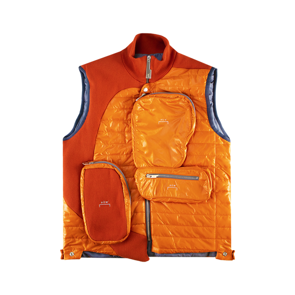 A Cold Wall Puffer Gilet With Asymmetrical 3D Pocket [Orange]
