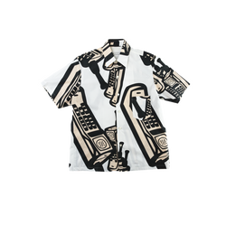Maison Margiela Telephone Print Shirt in White/Nude  Style: S30DL0425