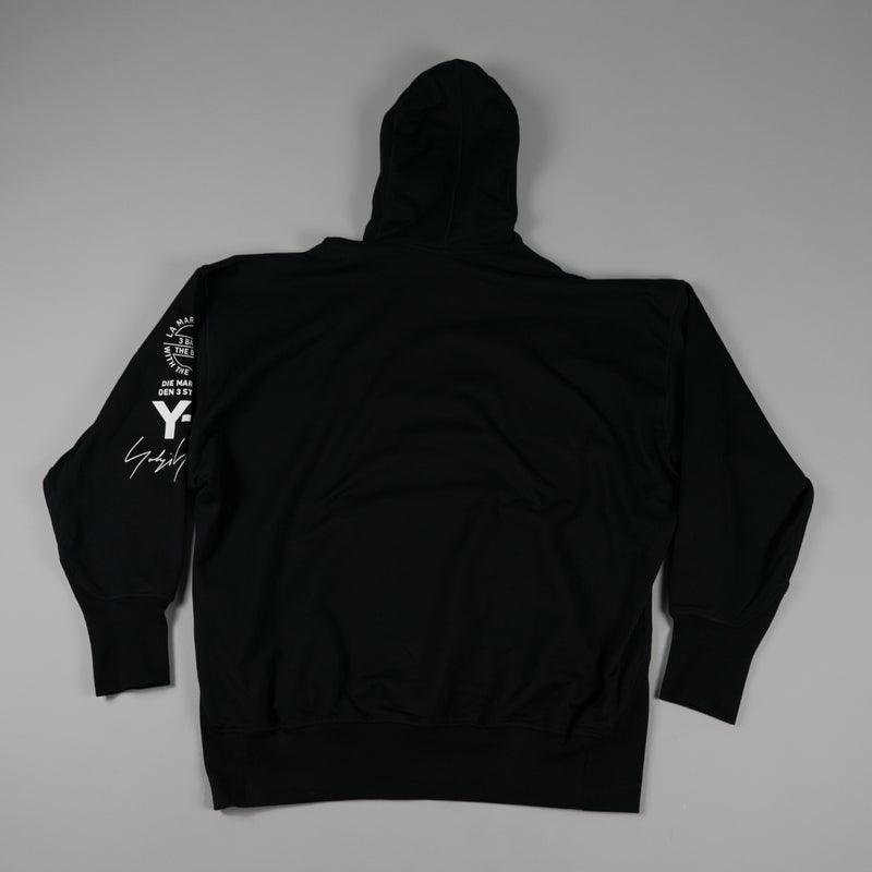 Back of Y-3 Graphic Hoodie [Black] at ROOTED Nashville