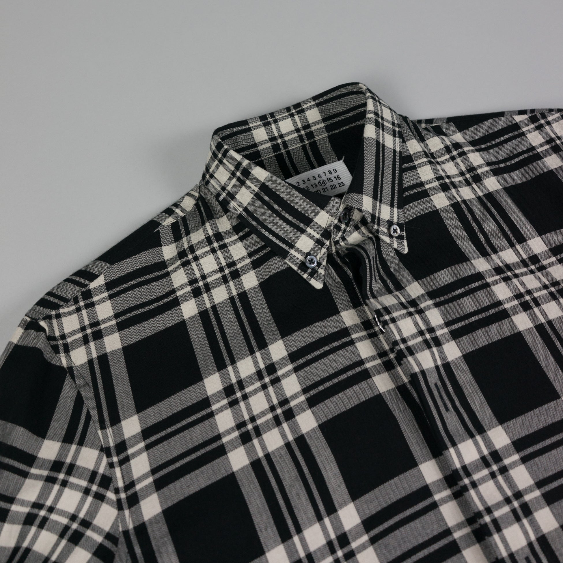 Collar detail of Check Button Shirt by French Designer Maison Margiela