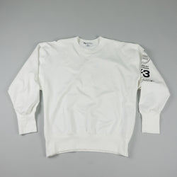 Front of Y-3 Graphic Crew Sweatshirt [White] at ROOTED Nashville
