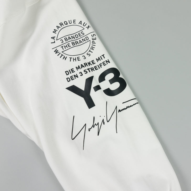 Logo detail of Y-3 Graphic Crew Sweatshirt [White] at ROOTED Nashville