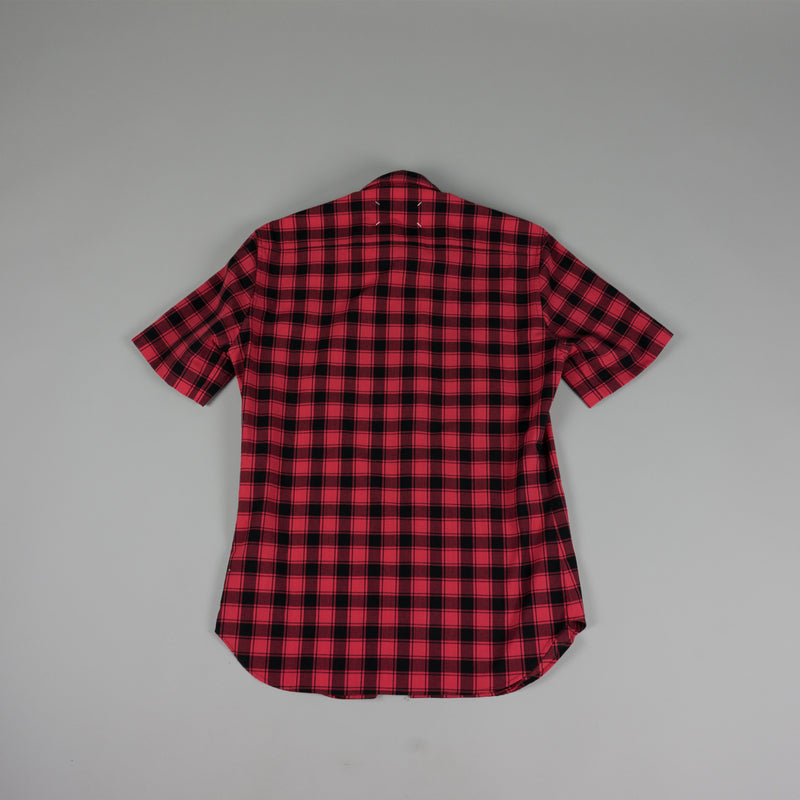Back of Maison Margiela Plaid Button Down Shirt in Red/Black
