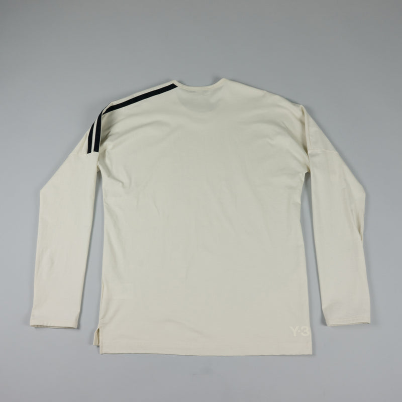 Back of Y-3 Stripes L/S T-Shirt [Undyed/Black] at ROOTED Nashville