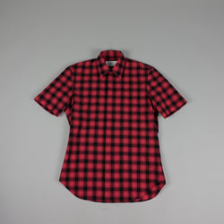 Front of Maison Margiela Plaid Button Down Shirt in Red/Black