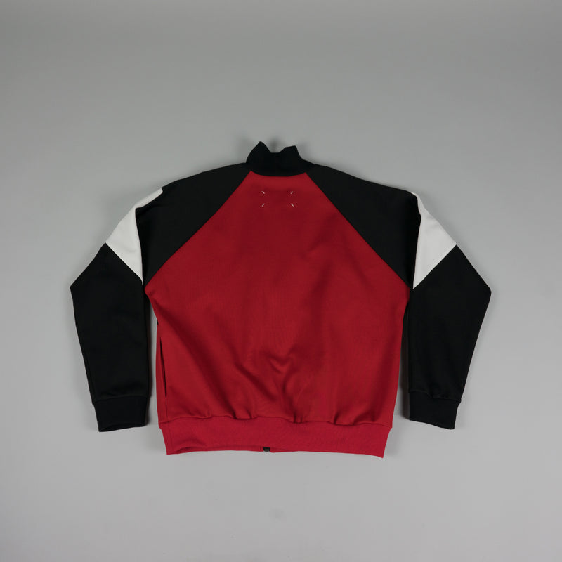 Back of Maison Margiela Track Jacket in black, red, and white at ROOTED