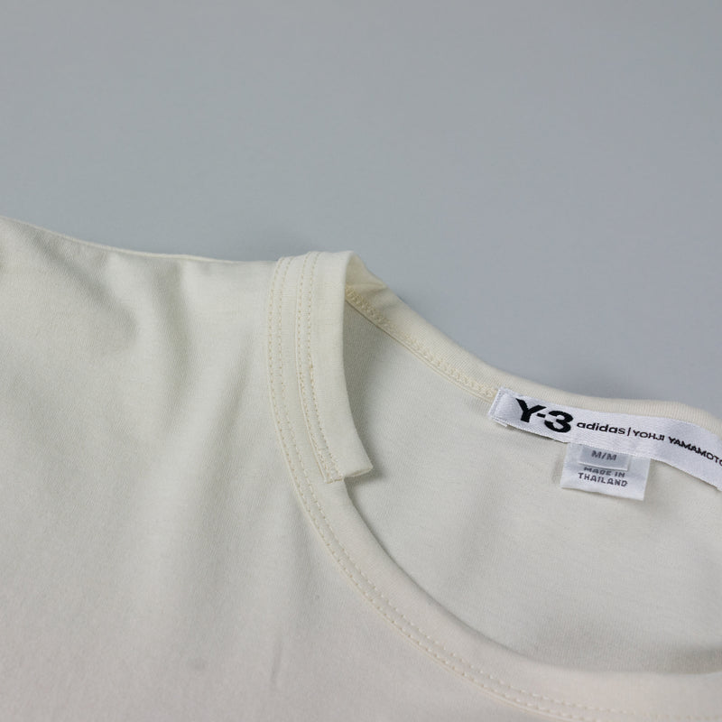Collar detail of Y-3 Stripes L/S T-Shirt [Undyed/Black] at ROOTED Nashville