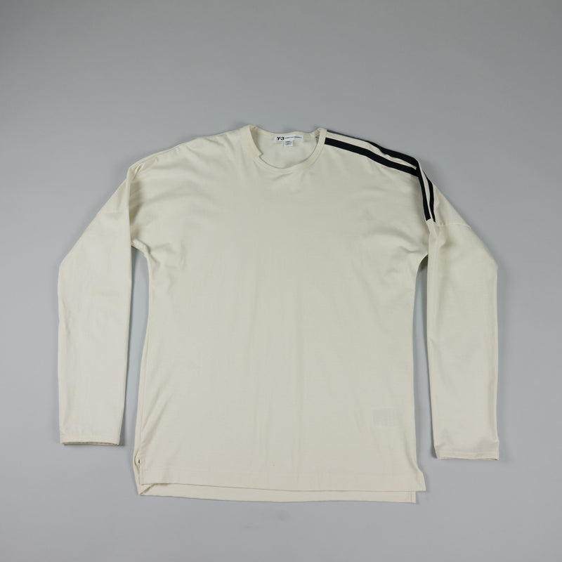 Front of Y-3 Stripes L/S T-Shirt [Undyed/Black] at ROOTED Nashville