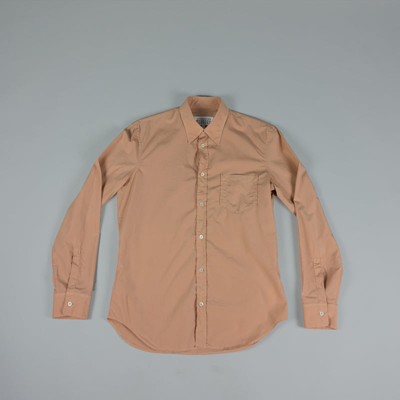 Front of Maison Margiela Garment Dyed Ash-Rose Button-Down at ROOTED