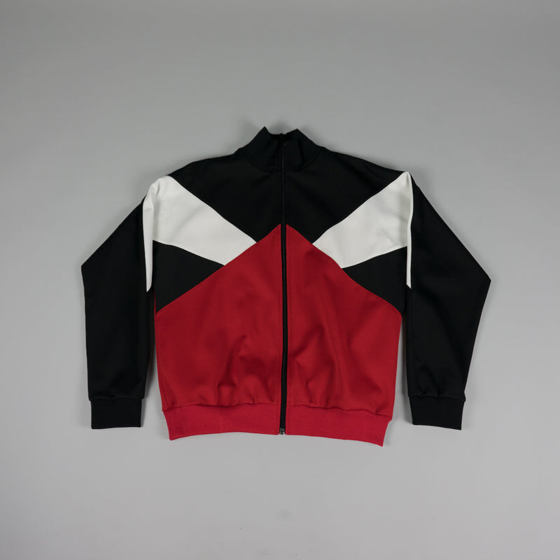 Front of Maison Margiela Track Jacket in black, red, and white at ROOTED