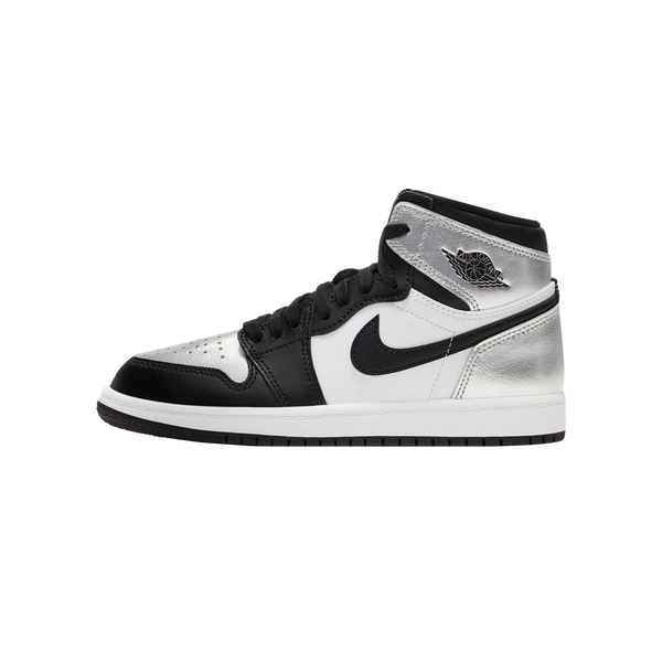 Women's Air Jordan 1 Hi - Silver Toe 'Black/Black/Metallic Silver'