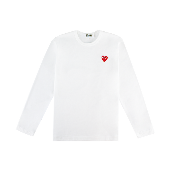 Comme des Garcons PLAY L/S T-Shirt 'White/Red'