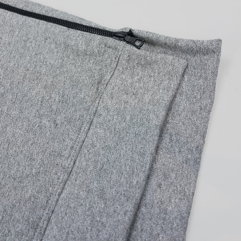 Side zipper on John Elliott Hooded Villain in grey