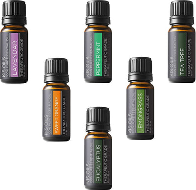 *BEST SELLING* Top 6 100% Pure Therapeutic Grade Essential Oil Kit: Lavender, Tea Tree, Eucalyptus, Lemongrass, Orange, Peppermint (10ml each)