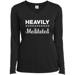 Heavily Meditated Ladies Long Sleeve 100% Polyster Performance V-Neck Tee