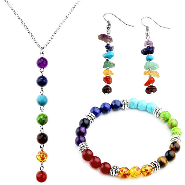 7 Chakras Healing Jewelry Bundle: Bracelet, Necklace, & Earrings (Choose Your Design)