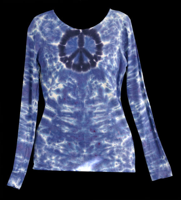 Women's Blue Peace Tie Dye Long Sleeve