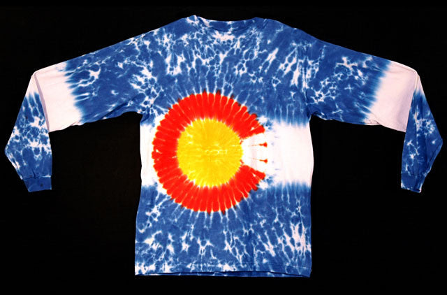 Long Sleeve Tie Dye Colorado Flag© Shirt
