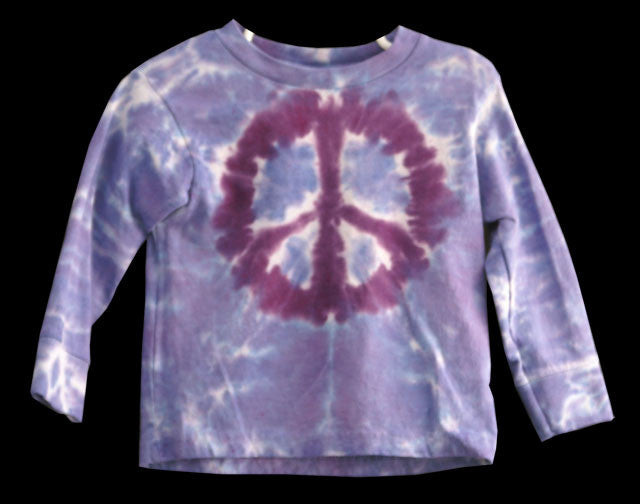 Youth Long Sleeve Periwinkle Peace Tie Dye