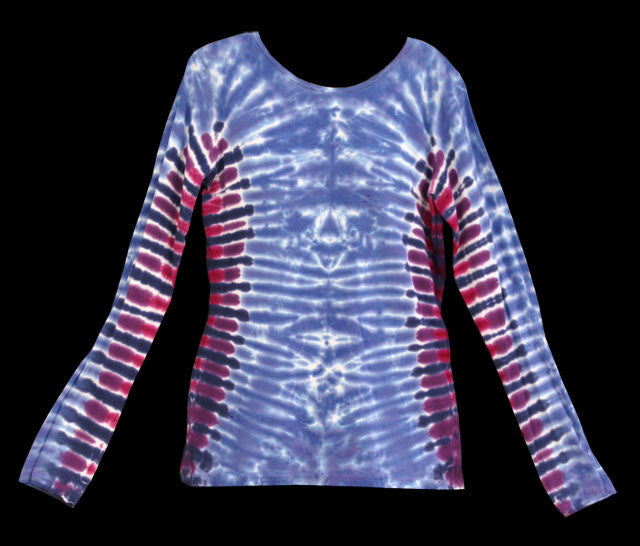 Women's Periwinkle Ribs Tie Dye Long Sleeve