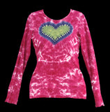 Women's Pink Love Tie Dye Long Sleeve