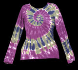 Women's Purple Waves Tie Dye Long Sleeve