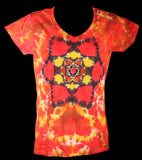 Women's Fire Lotus Mandala Tie Dye T-Shirt