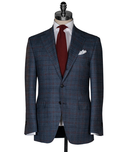 blue and red plaid suit