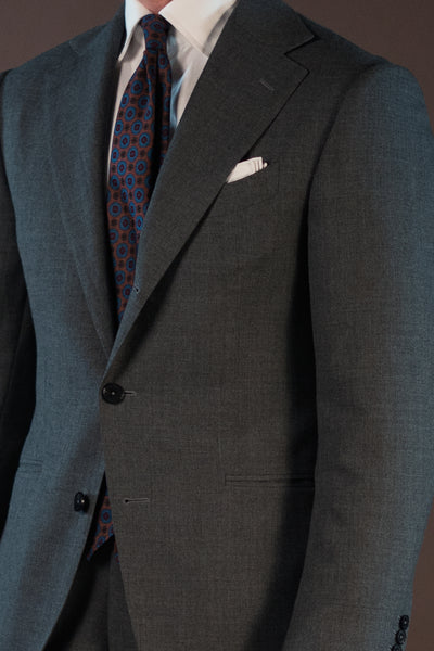 grey plain weave suit