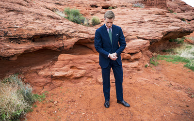 Navy Wool/Silk Seersucker Suit - Beckett & Robb