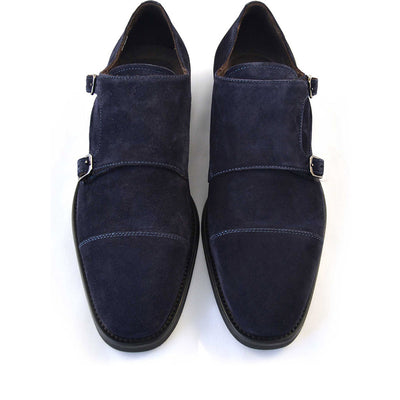Regent Navy Double Monk Strap - Beckett & Robb