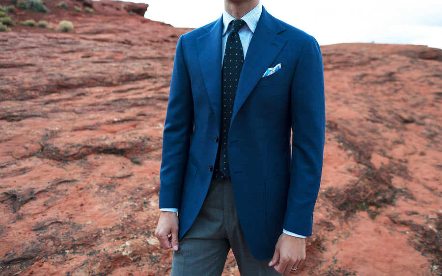 Blue Open Weave Sport Coat/ Grey Trouser - Beckett & Robb