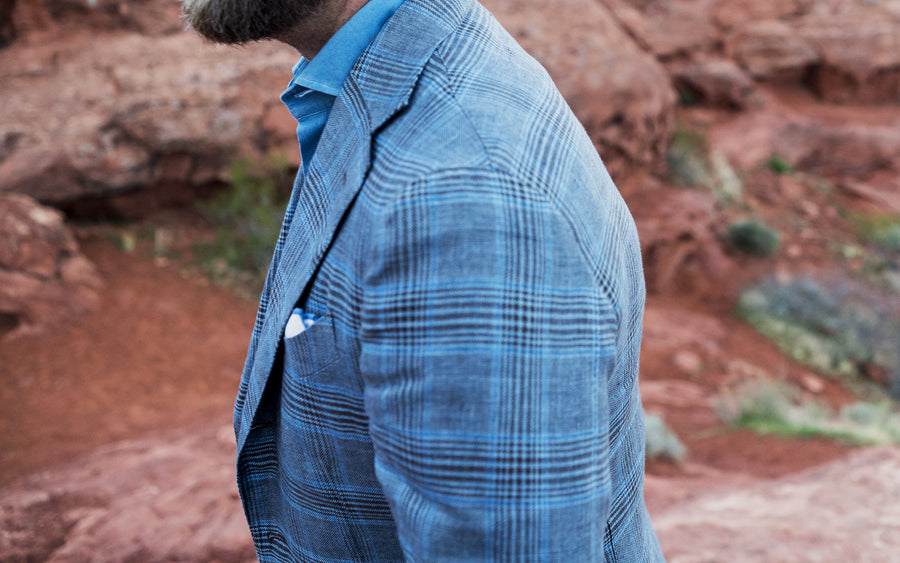 Brown & Blue Linen Sport Coat - Beckett & Robb