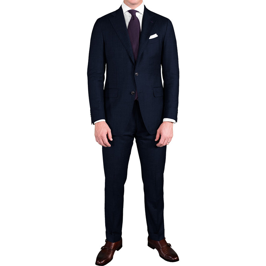 Navy Blue Bird's Eye Suit - Beckett & Robb