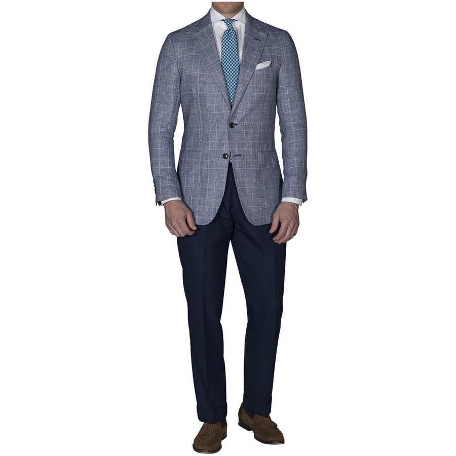 Blue Linen Prince of Wales Sport Coat - Beckett & Robb