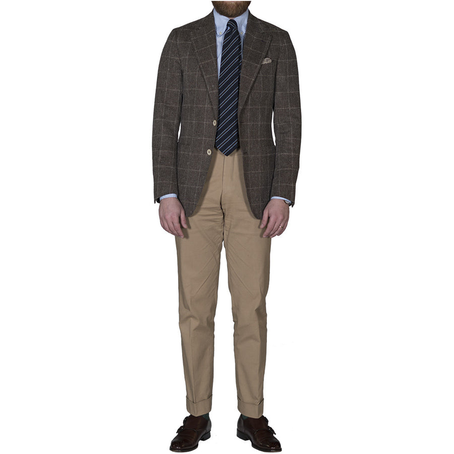 Brown Windowpane Basketweave Sport Coat
