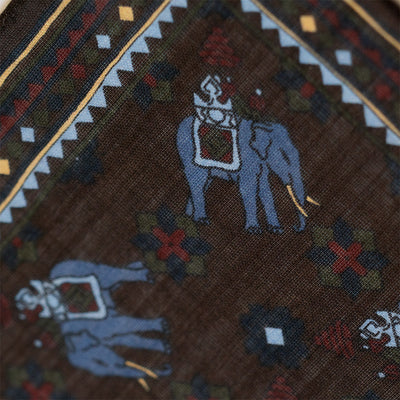Brown Elephant Print Pocket Square - Beckett & Robb