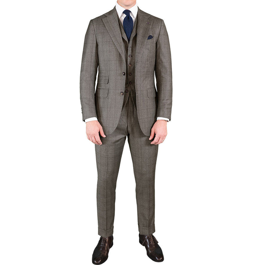 Brushed Brown Glen Plaid Suit - Beckett & Robb