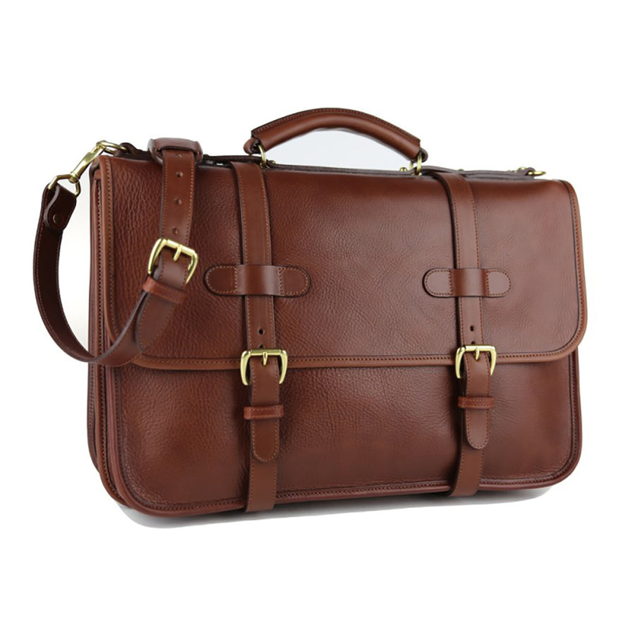 Bound Edge English Briefcase- Chestnut
