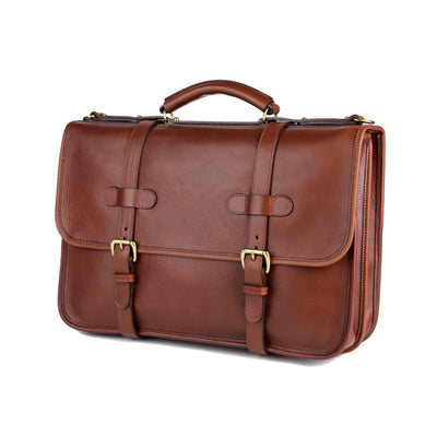 Bound Edge English Briefcase- Chestnut - Beckett & Robb