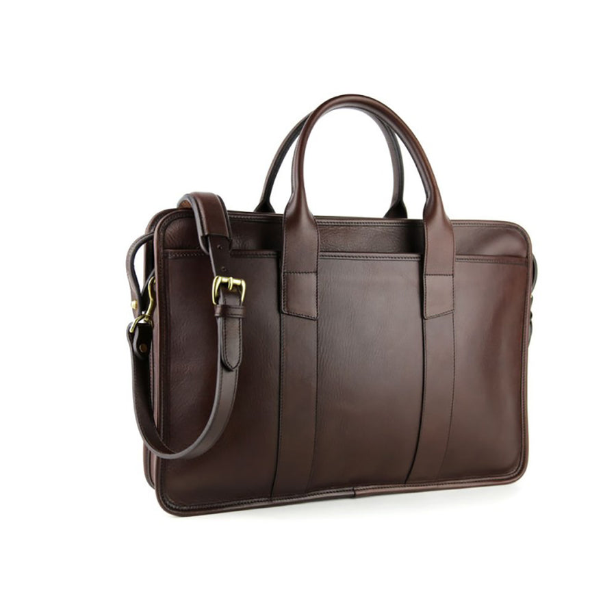 Bound Edge Zip-Top Briefcase - Chocolate